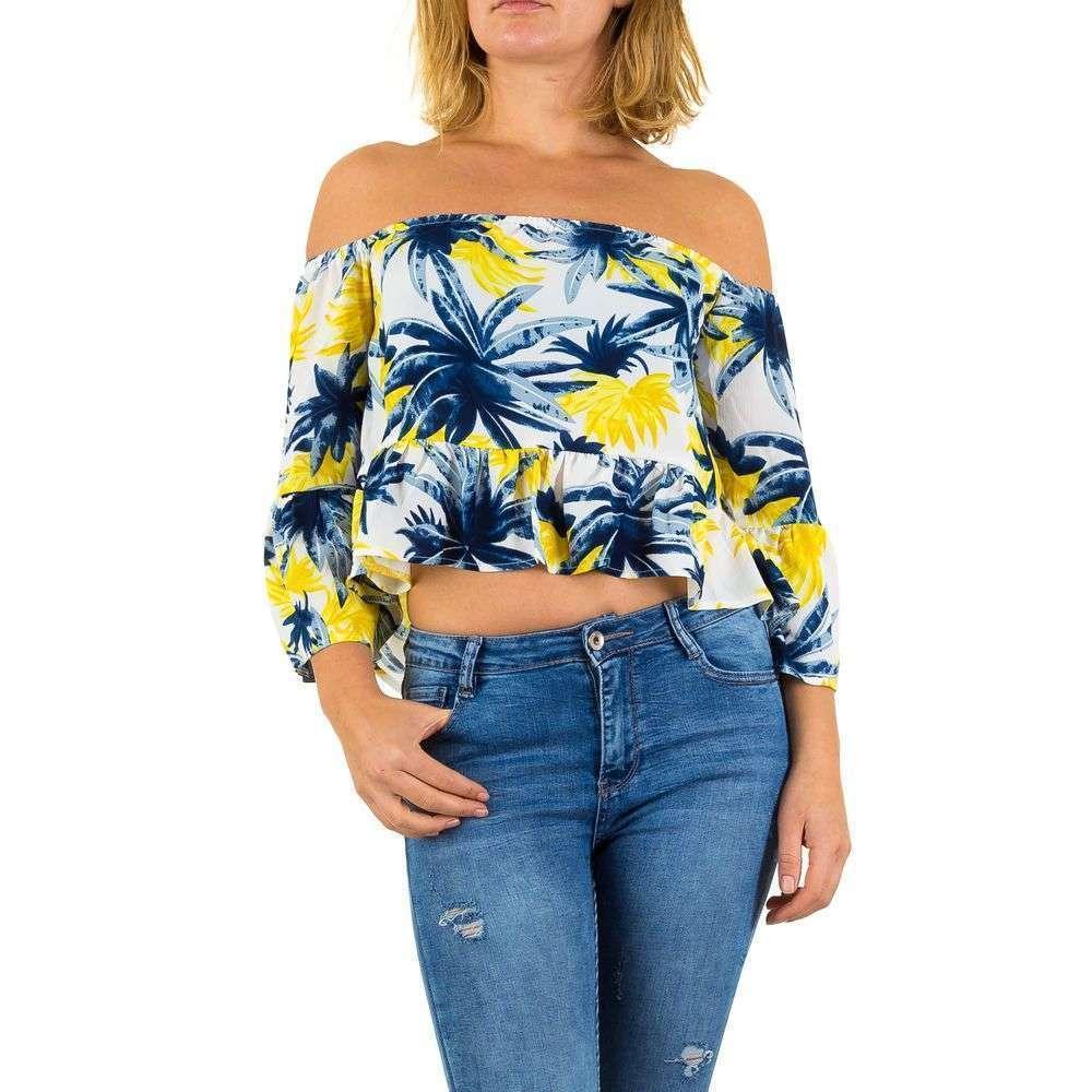 Женская блузка от Iclothing - Yellow Blue - KL-2339-P622-Yellow Blue