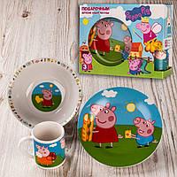 """Набір дитячого посуду """"4306"""" фарфоровий з героями мультфільмів """"Свинка Пеппа""""."""
