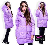 Длинная женская куртка  с капюшоном  большой размер, фото 1