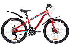 """Подростковый велосипед 24"""" Discovery FLINT AM DD 2019 (красно-бирюзовый с черным) OPS-DIS-24-114"""