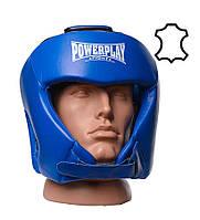 Боксерский шлем PowerPlay 3049 Кожа Blue M, фото 1