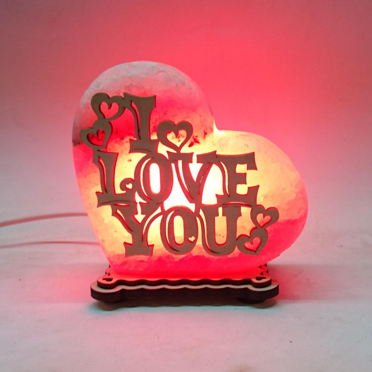 Соляной светильник Сердце маленькое I LOVE YOU