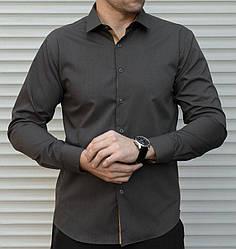 Мужская классическая графитовая рубашка с длинным рукавом