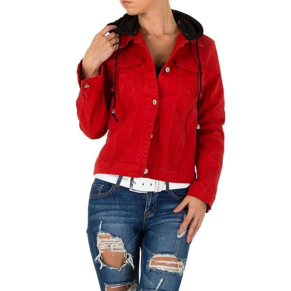 Джинсовая куртка женская с капюшоном Noemi Kent (Франция), Красный
