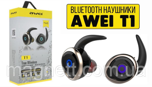 Беспроводные наушники Awei Waterproof T1 IPX4 Black (Черный)