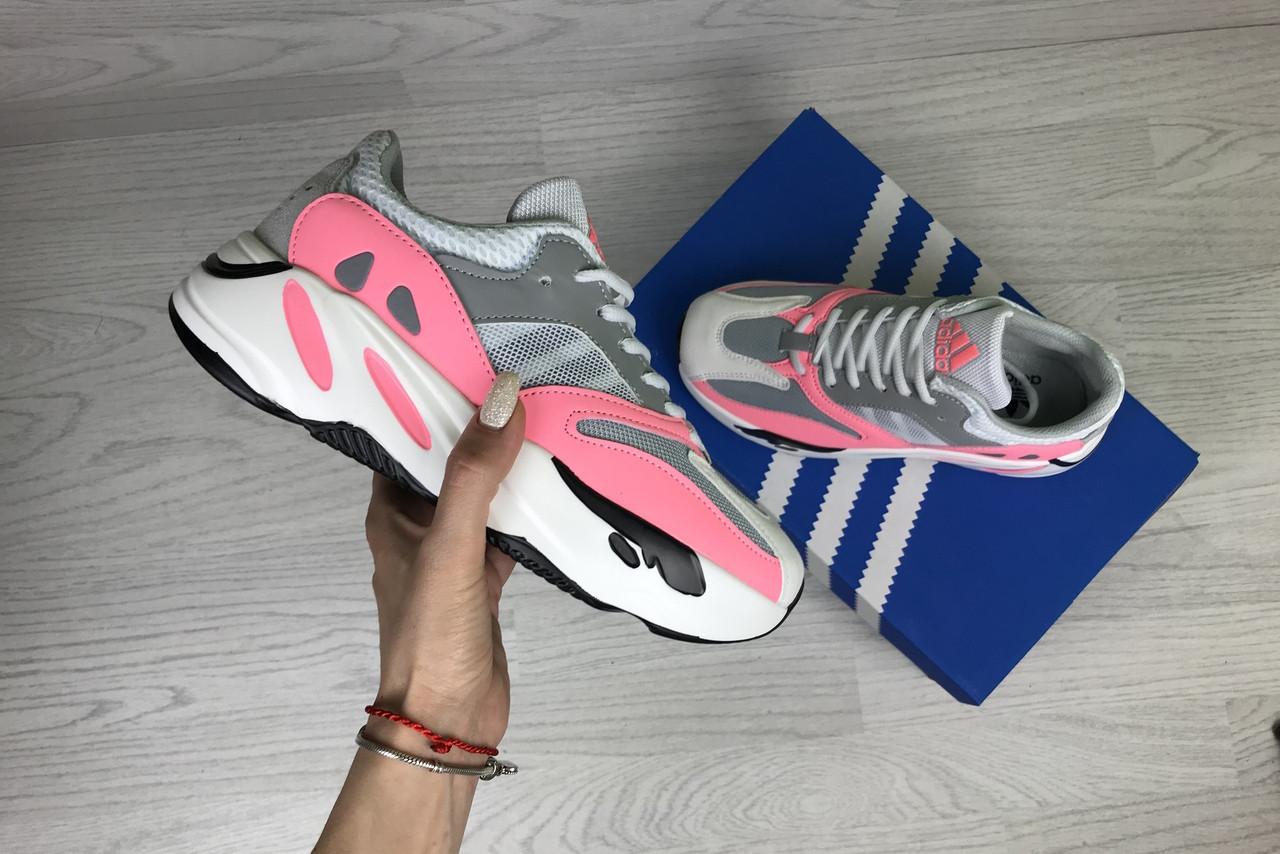 Кроссовки женские адидас изи буст 700 cерые розовые демисезонные (реплика) Adidas Yeezy Boost 700 Grey Pink