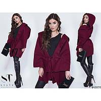 Пончо пальто женское с капюшоном 03963