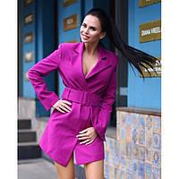 Пальто пиджак женское кашемировое с поясом яркое 4750