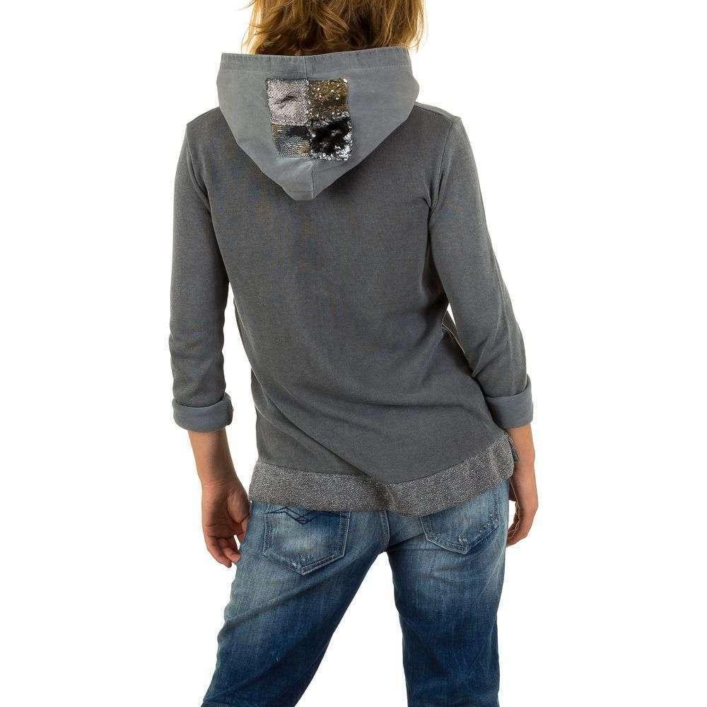 Женский свитшот с пайетками на капюшоне Carla Giannini (Италия), Серый