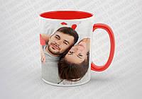 Печать фото на красной чашке с красной ручкой (красная внутри)