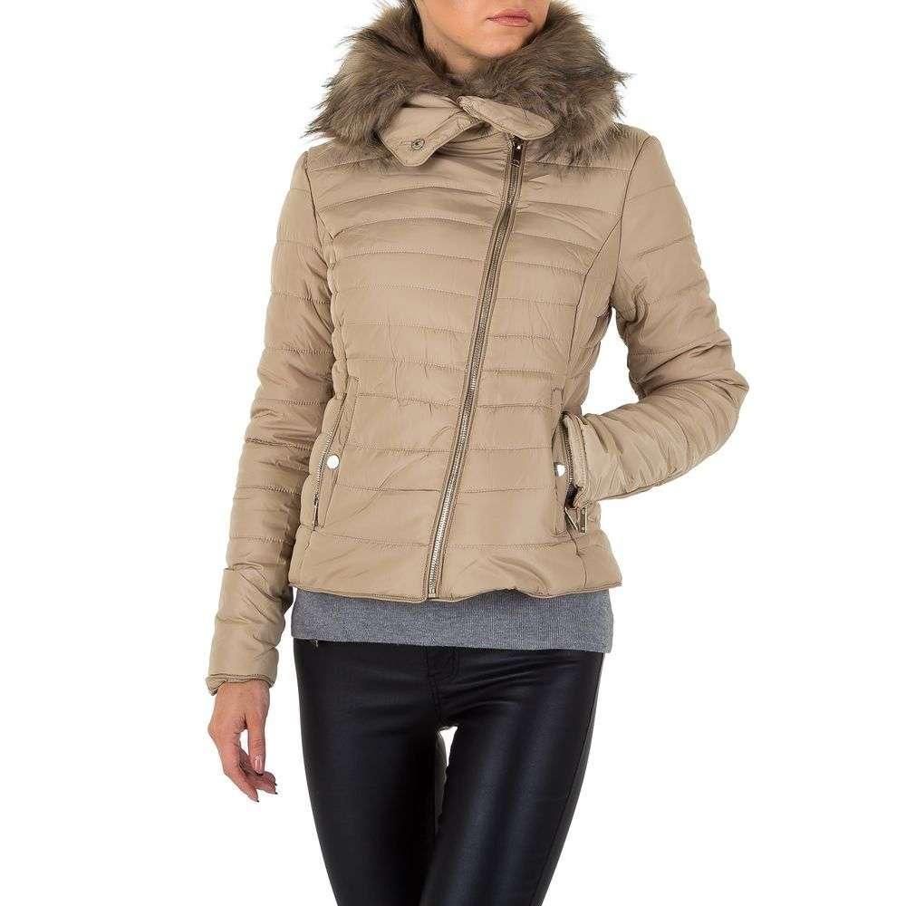 Демисезонная стеганая куртка с мехом женская Noemi Kent (Франция), Бежевый