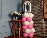 """Композиция с воздушных шариков """"Стойка с цифрой """"0"""" (бело-розовая), фото 7"""