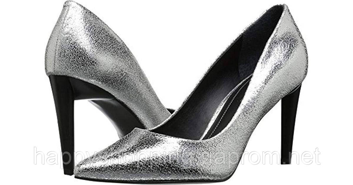Женские  стильные серебристые кожаные туфли на каблуке лодочки Kendall+Kylie
