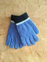 Перчатки для девочки Однотонные серые и голубые голубой