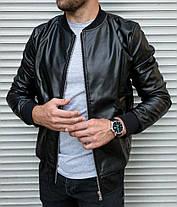 Черная мужская кожаная куртка, на молнии, демисезонная, фото 2