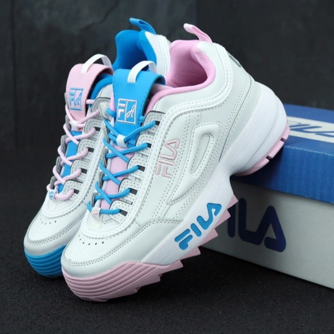 Женские кроссовки в стиле Fila Disruptor II white/blue/pink. Живое фото