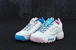 Женские кроссовки в стиле Fila Disruptor II white/blue/pink. Живое фото, фото 2