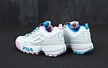 Женские кроссовки в стиле Fila Disruptor II white/blue/pink. Живое фото, фото 3