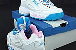 Женские кроссовки в стиле Fila Disruptor II white/blue/pink. Живое фото, фото 5