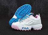 Женские кроссовки в стиле Fila Disruptor II white/blue/pink. Живое фото, фото 4