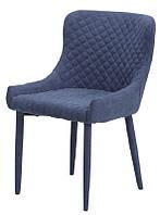 Стул М-20 синий шенилл, мягкое кресло на металлокаркасе в стиле модерн для дома и HoReCa