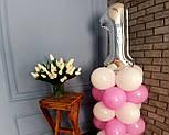 """Композиция с воздушных шариков """"Стойка с цифрой """"1"""" (бело-розовая), фото 3"""