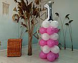 """Композиция с воздушных шариков """"Стойка с цифрой """"1"""" (бело-розовая), фото 6"""