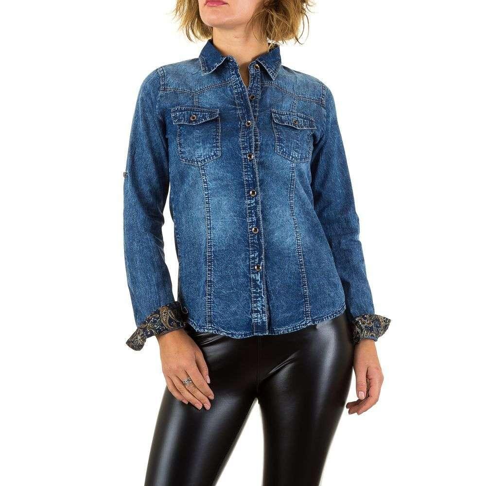 Женская джинсовая рубашка с декоративными манжетами Regular Denim (Европа) Синий