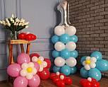 """Композиция с воздушных шариков """"Стойка с цифрой """"1"""" бело-голубая на день рождения мальчику, фото 6"""
