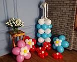 """Композиция с воздушных шариков """"Стойка с цифрой """"1"""" бело-голубая на день рождения мальчику, фото 7"""
