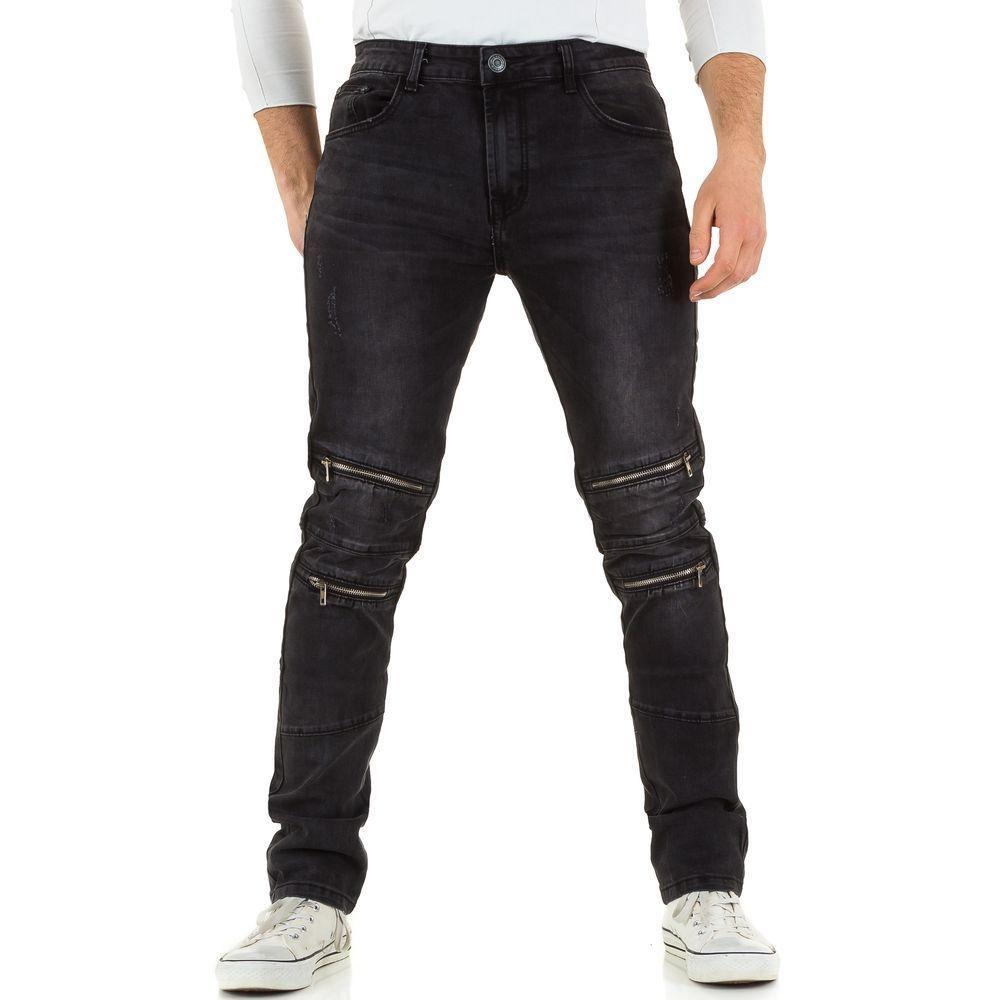 Джинсы мужские с молниями на коленях Black Ace (Европа), Черный