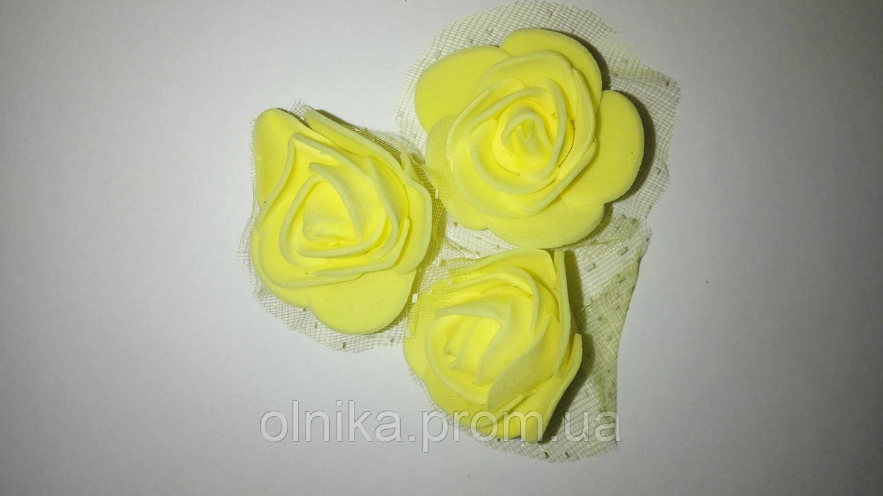 Роза латексная с фатином - Желтая 10 шт 3,5 см