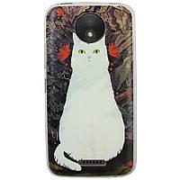 Чехол с рисунком Printed Silicone для Motorola Moto C XT1750 Кошка