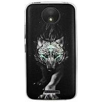 Чехол с рисунком Printed Silicone для Motorola Moto C XT1750 Волк