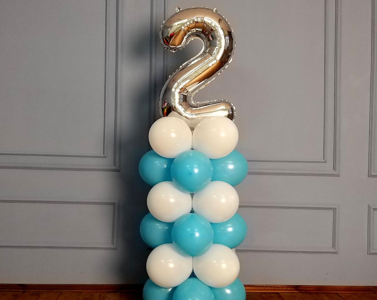 """Композиція з повітряних кульок """"Стійка з цифрою """"1"""" Насос у комплекті"""