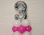 """Композиция с воздушных шариков """"Стойка с цифрой """"3"""" (бело-розовая), фото 6"""