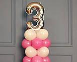 """Композиция с воздушных шариков """"Стойка с цифрой """"3"""" (бело-розовая), фото 8"""