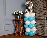 """Композиция с воздушных шариков """"Стойка с цифрой """"3"""" бело-голубая на день рождения мальчику, фото 4"""