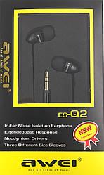 Навушники AWEI ES-Q2, black