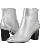 Женские стильные кожаные серебристые ботинки на каблуке Kendall +Kylie, фото 1