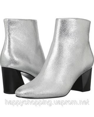 Женские стильные кожаные серебристые ботинки на каблуке Kendall +Kylie