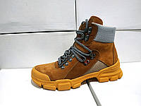 Женские замшевые ботинки коричневые осень-весна 36 - 41 размеры, фото 1