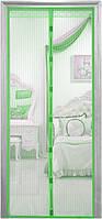 Сетка москитная шторка от комаров и мух на  магнитах на двери 210*100см. Зелёная.