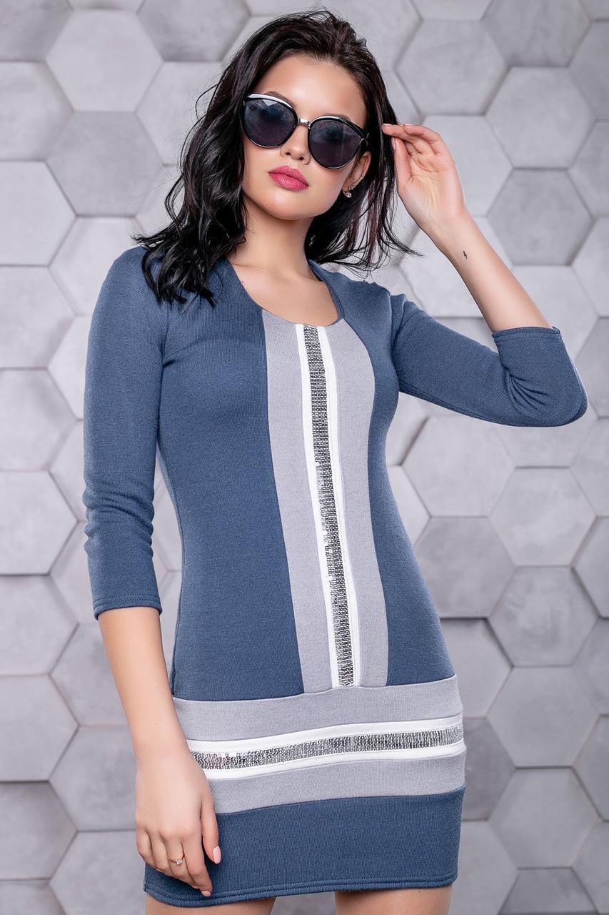 3945a5c2306 ◼️Короткое синее платье с вставками и пайетками   Размер S M L   Код  P21А6В1 - 3157+Н