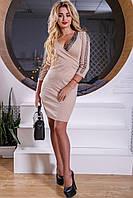 💧️Элегантное платье бежевого цвета  / Размер M L XL XXL  / P11А6В1 - 2546