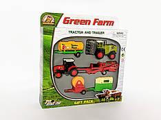 Набор машинок, Зеленая ферма, трактор, бочка, трейлер