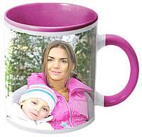 Печать фото на розовой чашке с розовой ручкой (розовая внутри)