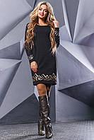 💧️Черное платье длины мини с контрастным геометрическим рисунком /Размер M L XL XXL/ P11А6В1 - 2427