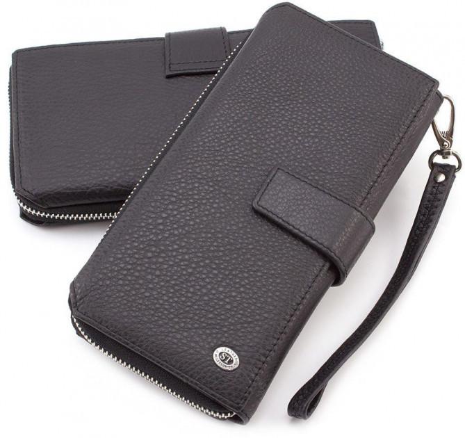 Клатч мужской кожаный из натуральной кожи в черном цвете с отделом для кредитных карт ST ST128-black