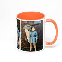 Печать фото на оранжевой чашке с оранжевой ручкой (оранжевевая внутри)